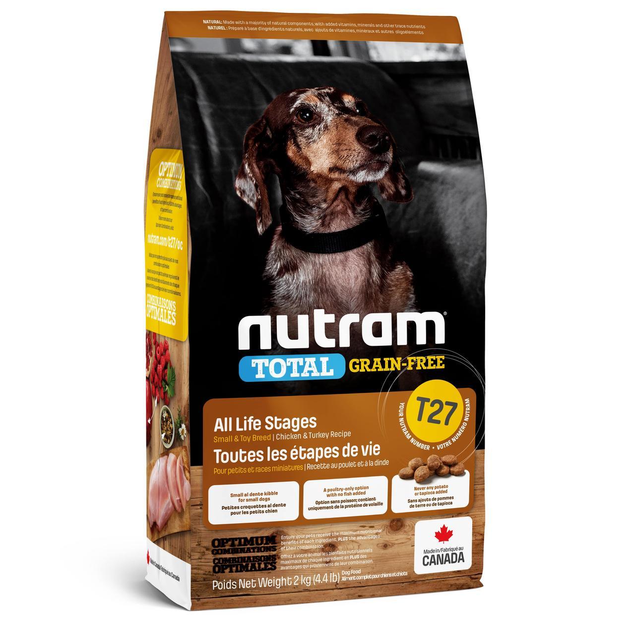НУТРАМ T27 Nutram Total сухой корм с индейкой и курицей для мелких пород собак, беззерновой, 2 кг