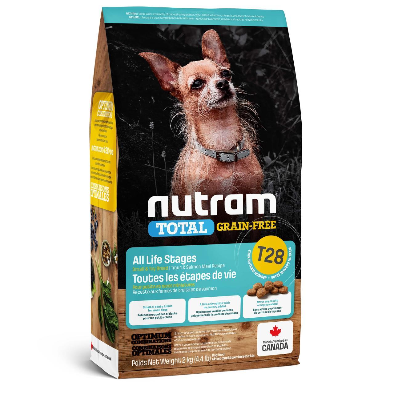 НУТРАМ T28 Nutram Total сухой корм с лососем и форелью для мелких пород собак, беззерновой, 2 кг