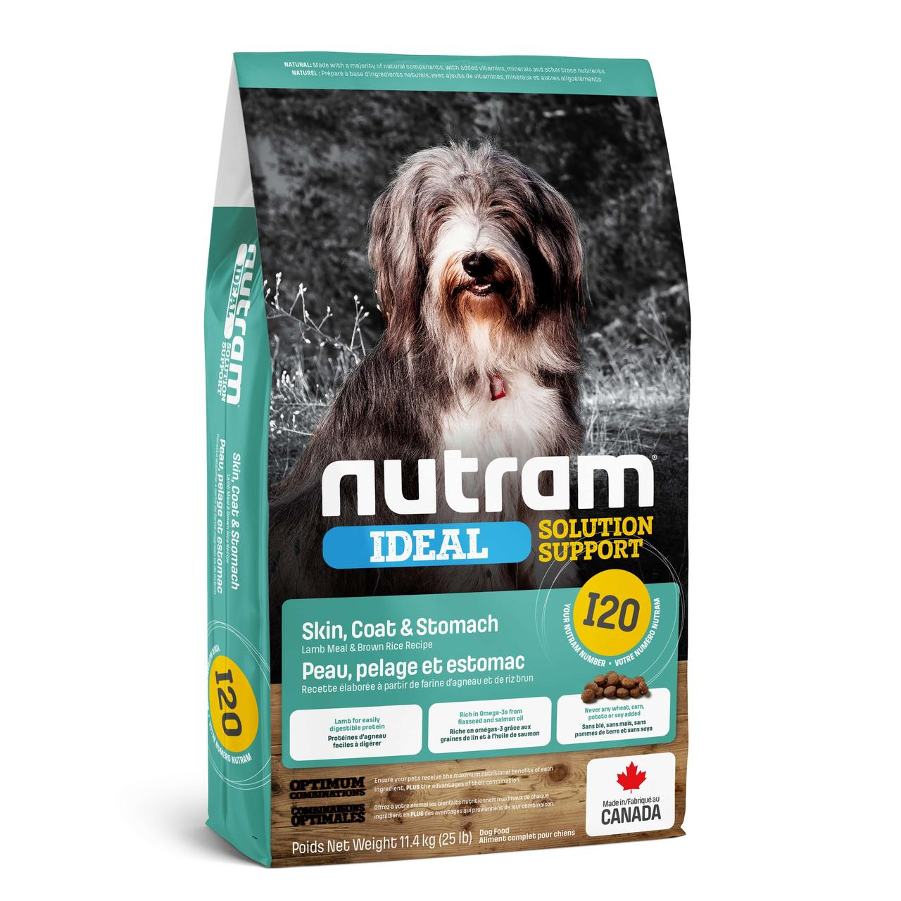 НУТРАМ I20 Nutram Ideal с ягненком и рисом корм для взрослых собак с проблемами кожи, шерсти, желудка, 11,4 кг