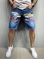 Мужские синие джинсовые шорты широкие с рисунками молодежные мужские прямые джинсовые шорты синие с принтами