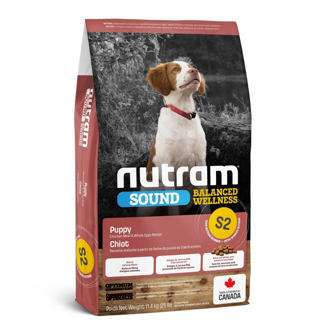НУТРАМ S2 Nutram Sound з куркою і цільними яйцями повнораціонний сухий корм для цуценят, 11,4 кг