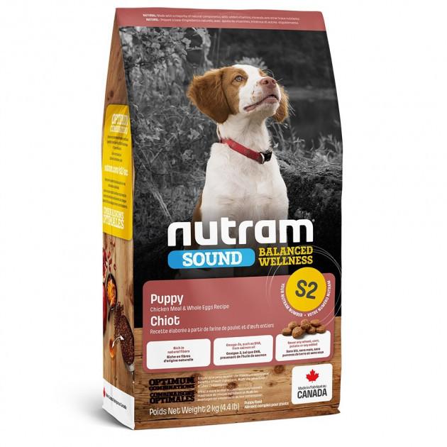 НУТРАМ S2 Nutram Sound з куркою і цільними яйцями повнораціонний сухий корм для цуценят, 2 кг