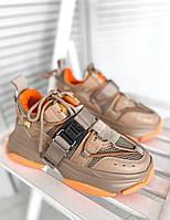 Жіночі кросівки MJ6737 brown orange clamp, фото 1