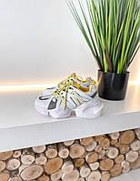 Жіночі кросівки MJ 6466 white/yellow, фото 1