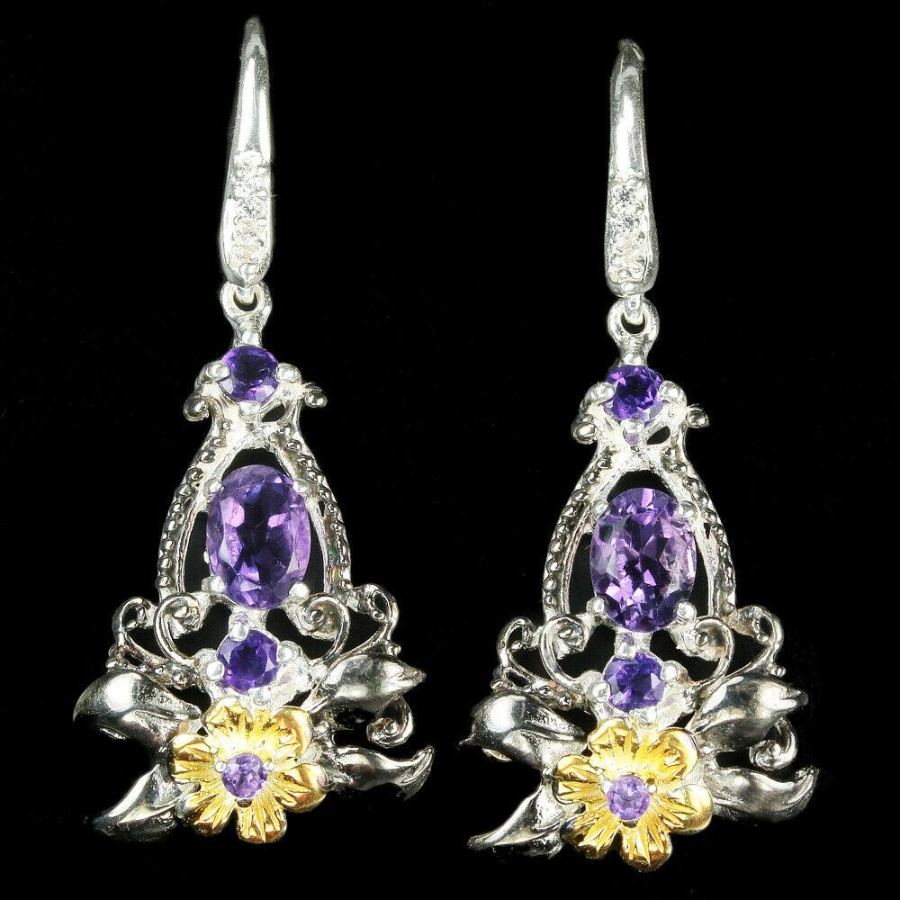 Срібні сережки з аметистами, 1383СА