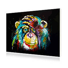"Картина по номерам Lesko PH-9215 ""Радужный шимпанзе"" набор для творчества на холсте 40-50см рисование"