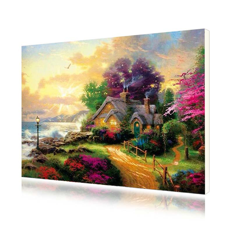 "Картина по номерам Lesko PH-9524 ""Домик на берегу моря"" набор для творчества на холсте 40-50см рисование"