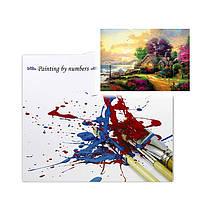 """Картина по номерам Lesko PH-9524 """"Домик на берегу моря"""" набор для творчества на холсте 40-50см рисование, фото 3"""