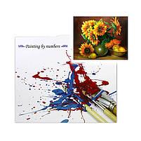 "Картина по номерам Lesko Y-5287 ""Подсолнухи и груши"" 40-50см набор для творчества живопись, фото 5"