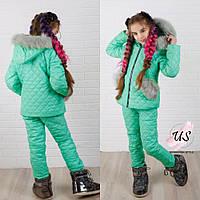 Теплый зимний детский костюм для девочки. Цвета!