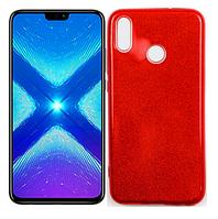 Чохол силіконовий з блискітками для Huawei Honor 8X Red (хуавей хонор 8х)