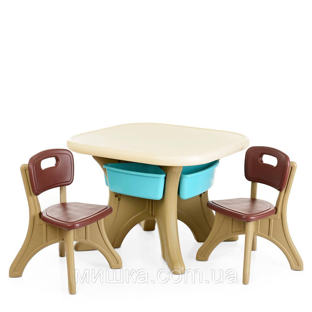 Детский пластиковый столик ETZY-13, 2 стульчика, 4 ящика
