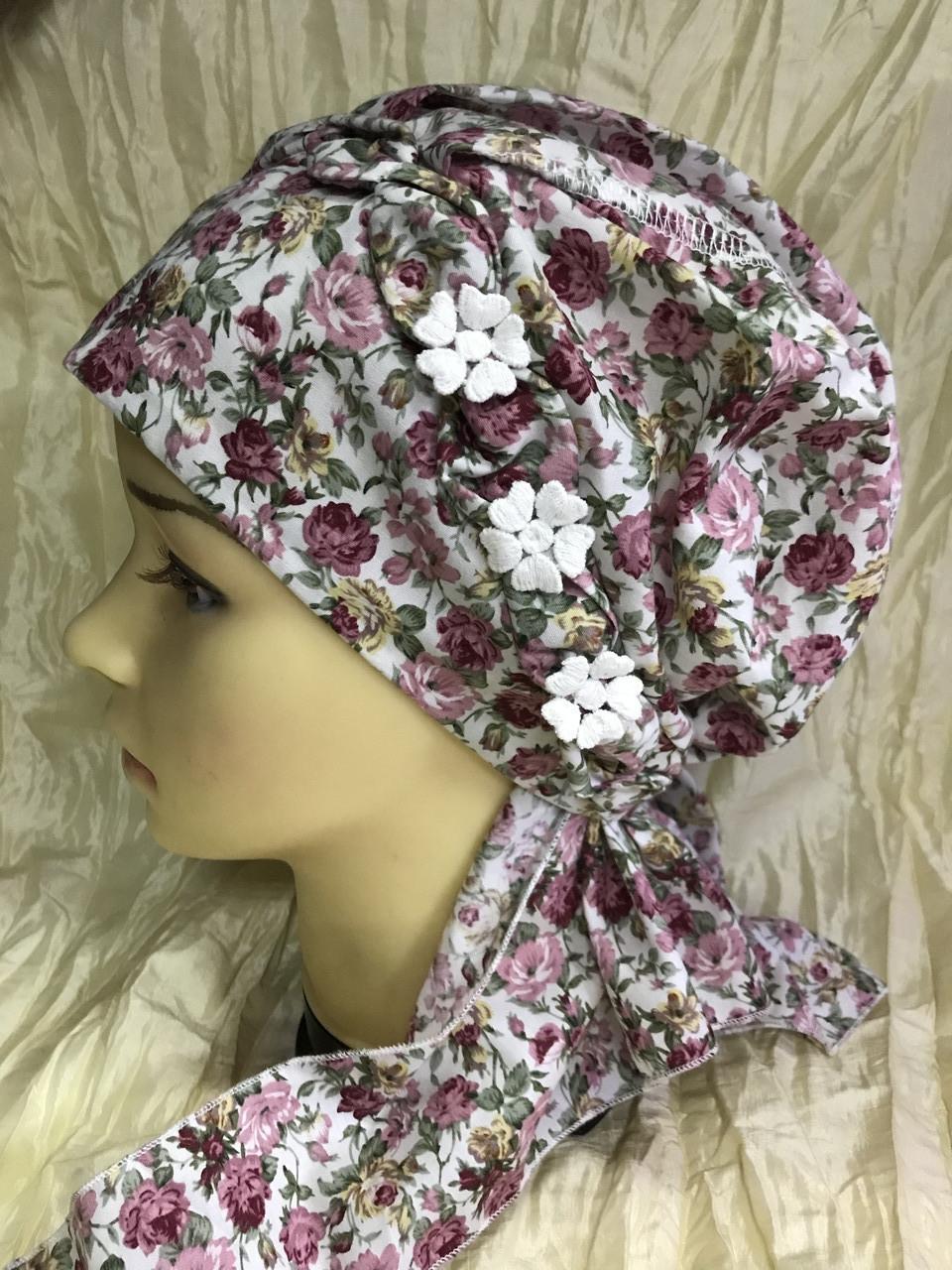 Бандана-шапка-чалма-косынка хлопковая в мелкий цветочек
