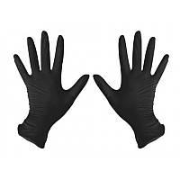 Перчатки нитриловые неопудренные чёрные 100 шт. М