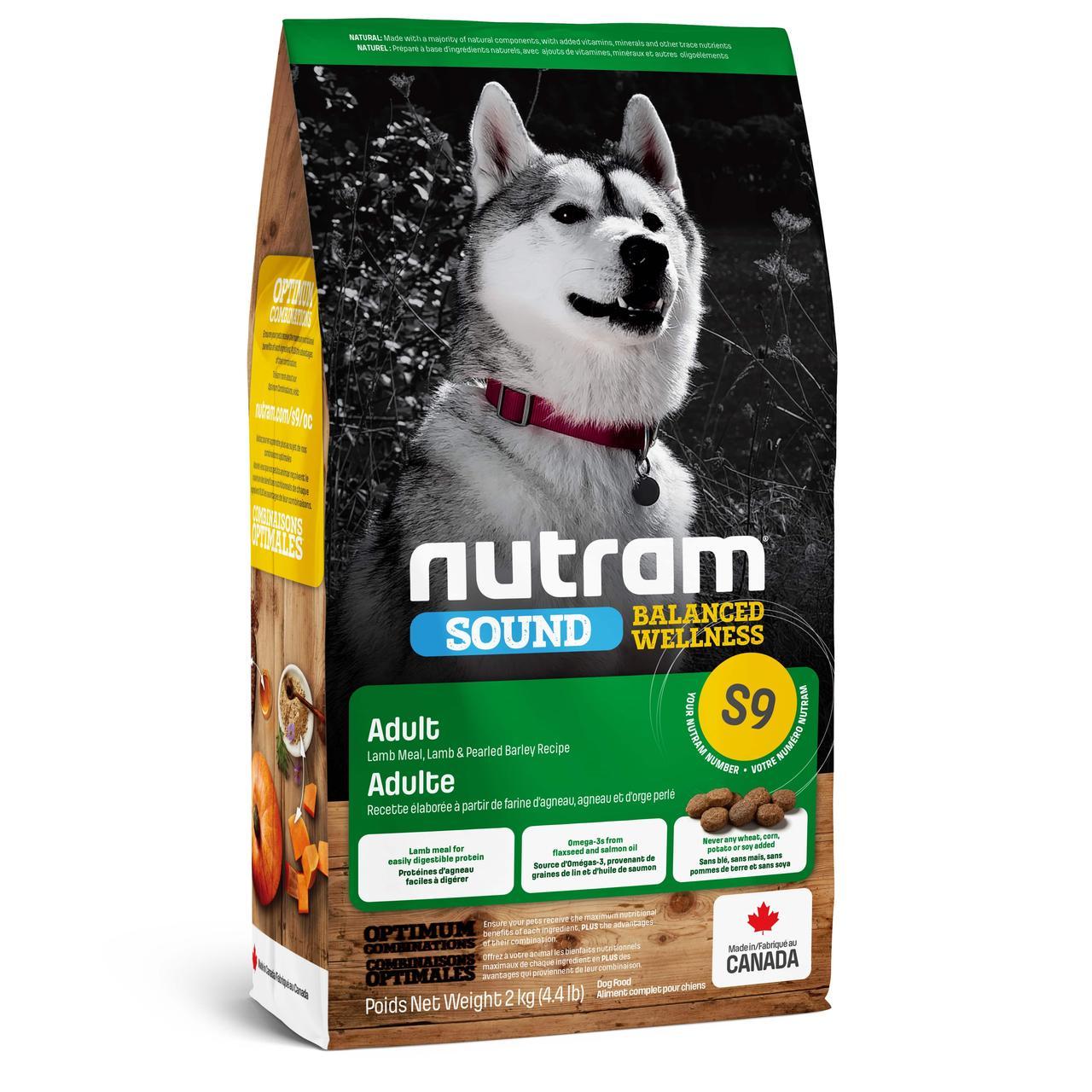 НУТРАМ S9 Nutram Sound с ягненком и шлифованым ячменем полнорационный сухой корм для взрослых собак, 2 кг