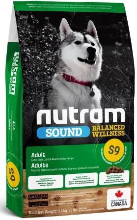 НУТРАМ S9 Nutram Sound с ягненком и шлифованым ячменем полнорационный сухой корм для взрослых собак, 11,4 кг