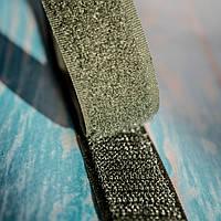 Липучка пришивная (лента контакт, велькро) / цвет хаки / ширина 8 см / упаковка 3 м