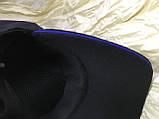 Черная  бейсболка трикотажная с белым  и синим кантом на козырьке 56-58-60, фото 6