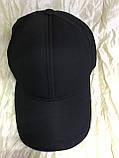 Черная  бейсболка трикотажная с белым  и синим кантом на козырьке 56-58-60, фото 5