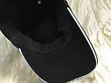Черная  бейсболка трикотажная с белым  и синим кантом на козырьке 56-58-60, фото 4