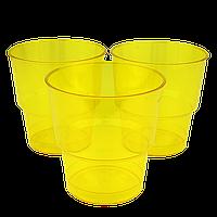 Стакан стеклоподобный Желтый 200мл (1уп/25шт/1ящ/36уп), фото 1