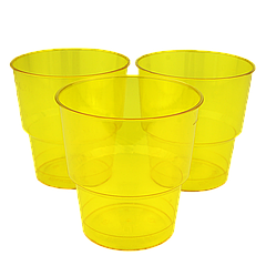 Стакан стеклоподобный Желтый 200мл (1уп/25шт/1ящ/36уп)