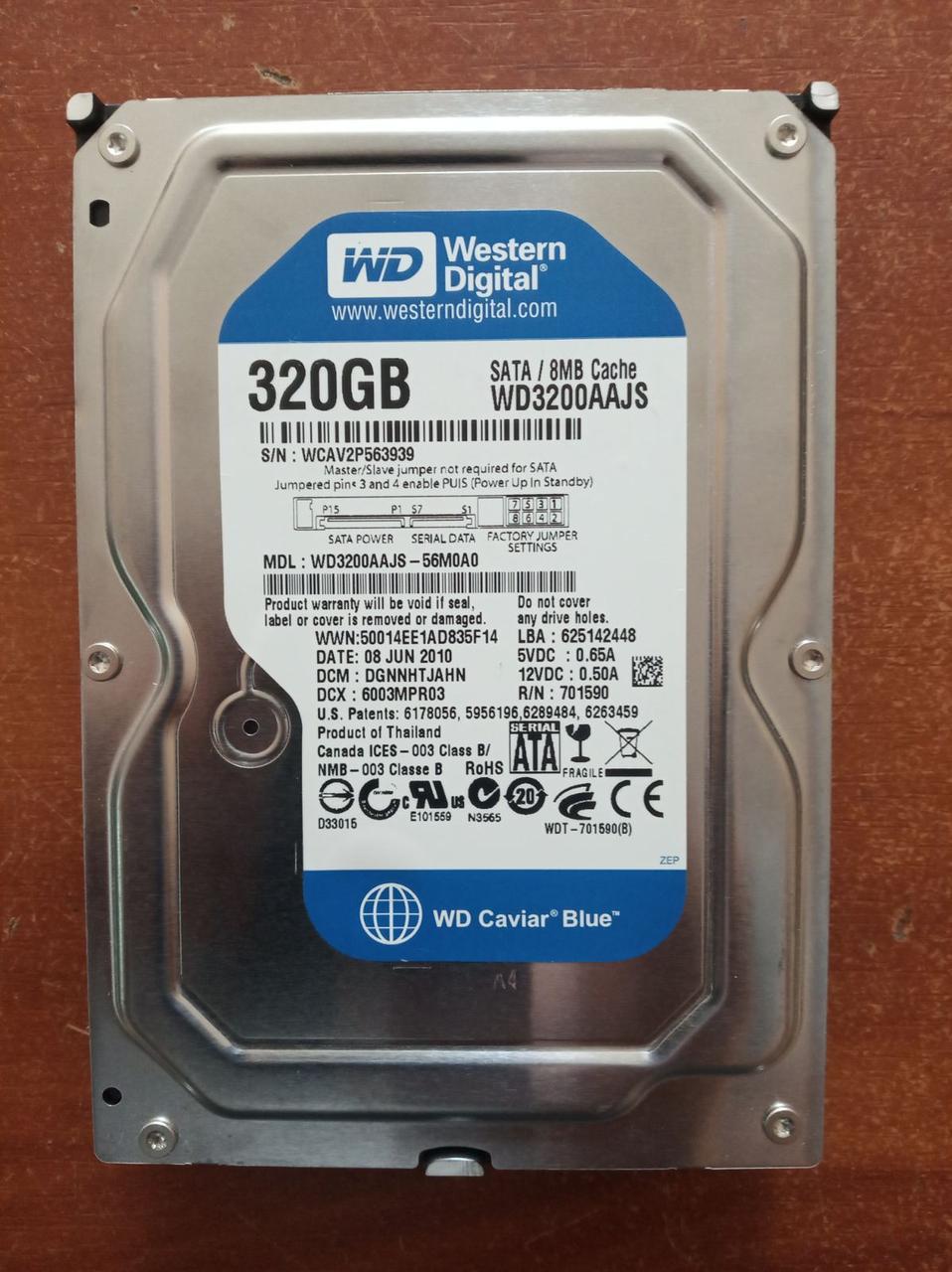 "Жесткий диск HDD Western Digital Caviar Blue 320GB 8MB 7200RPM 3,5 "" (WD3200AAJS) состояние отличное"