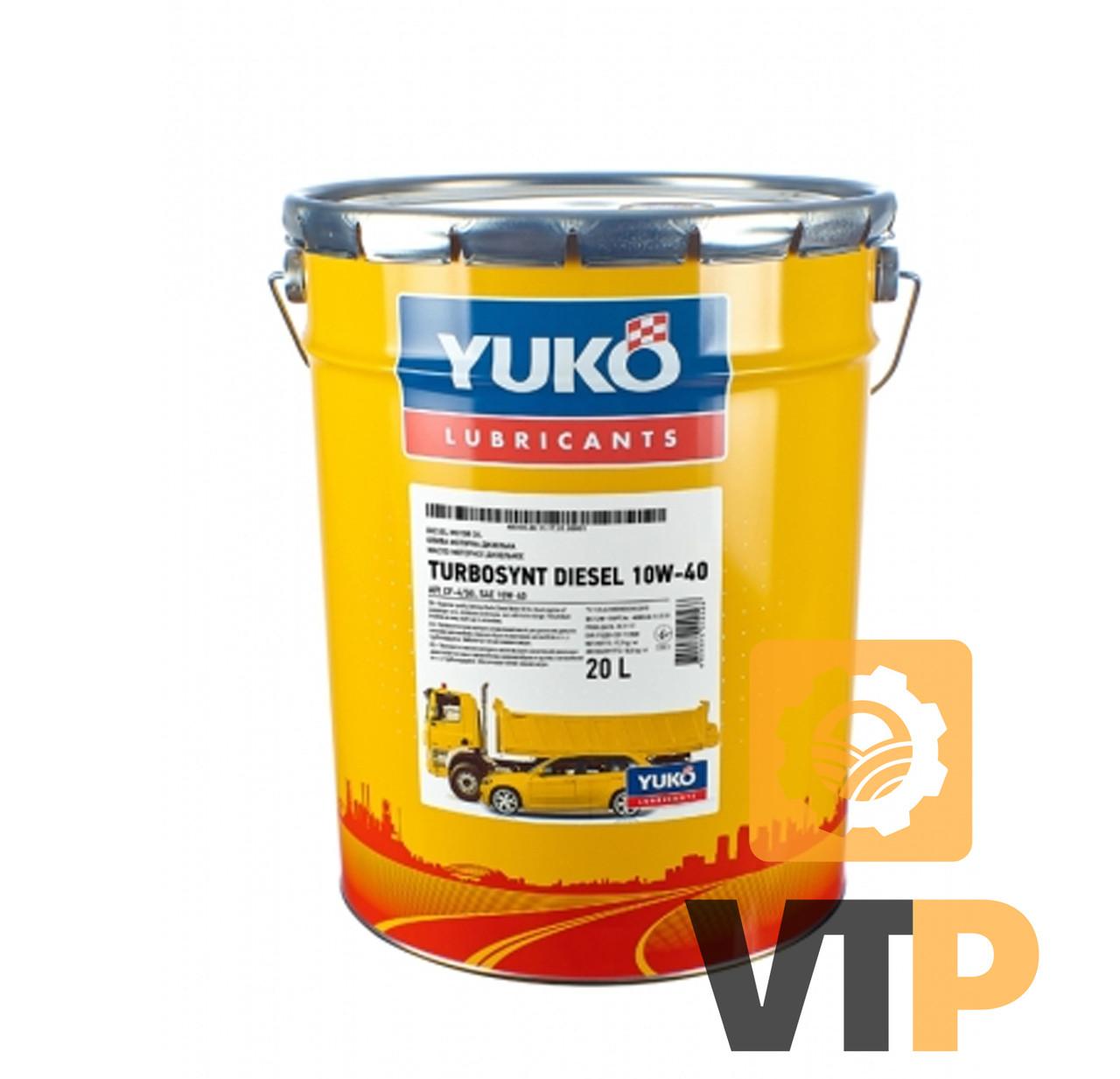 Олива моторна YUKO TURBOSYNT DIESEL 10W-40 API CF-4/SG 17,5 кг відро 20л жерсть