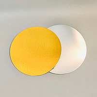 Подложка под торт ∅-280 мм, золото/серебро - 1 мм