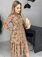 Женское нарядное плаття шифон мелкий принт цветы  классическое для беременных Платье S m l xl  Турция 🇹🇷
