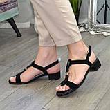 Босоножки женские замшевые на маленьком каблуке, фото 6