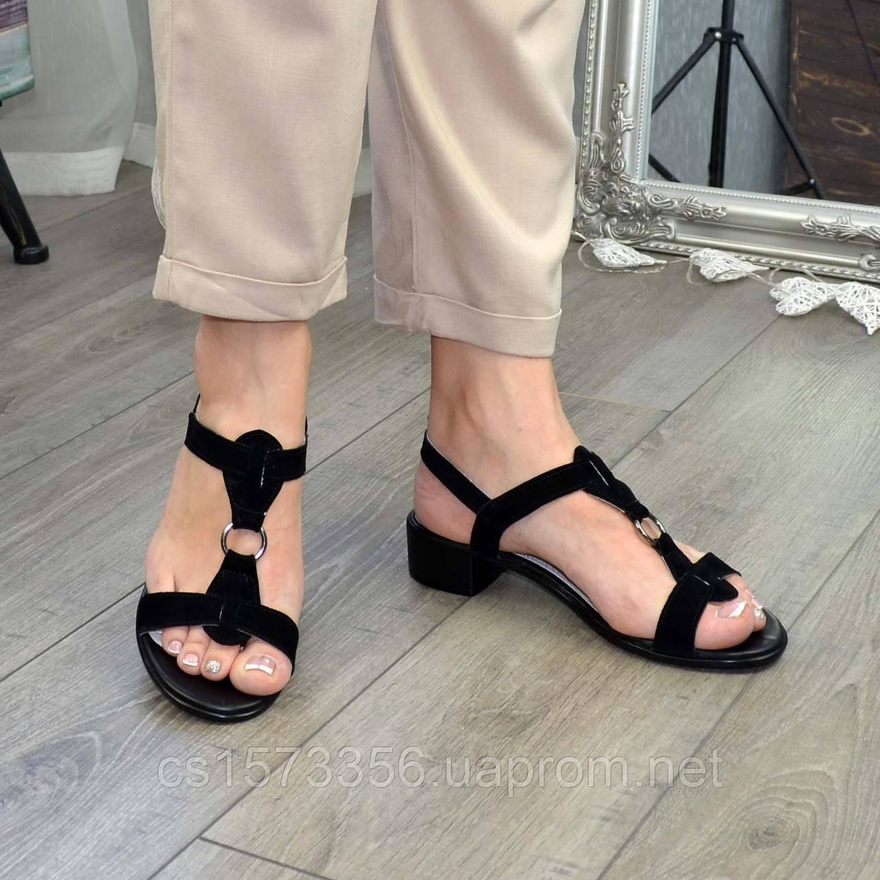 Босоножки женские замшевые на маленьком каблуке