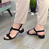 Босоножки женские замшевые на маленьком каблуке, фото 8