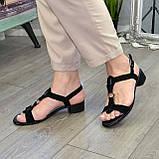 Босоножки женские замшевые на маленьком каблуке, фото 7