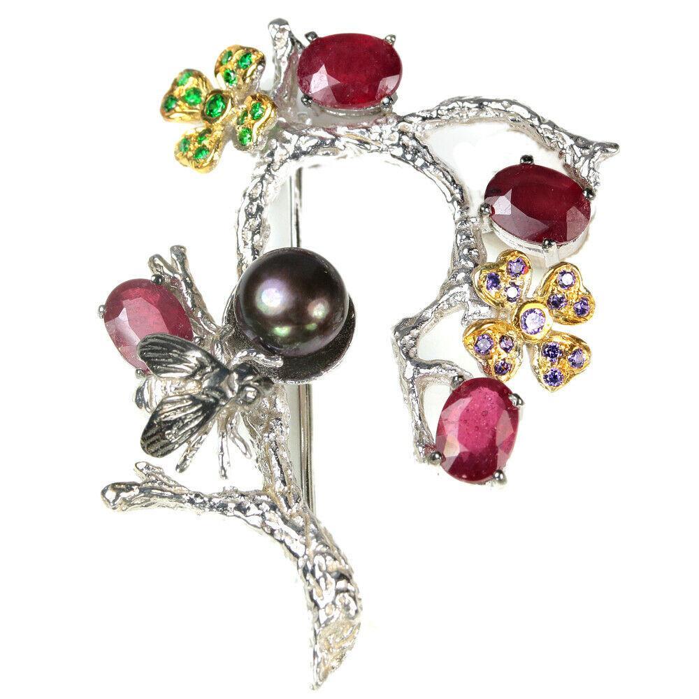 Серебряная брошь с рубином и черным жемчугом, 049БРР