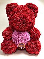 Мишко з троянд Teddy Rose червоний з рожевим серцем (40см) в коробці подарунок