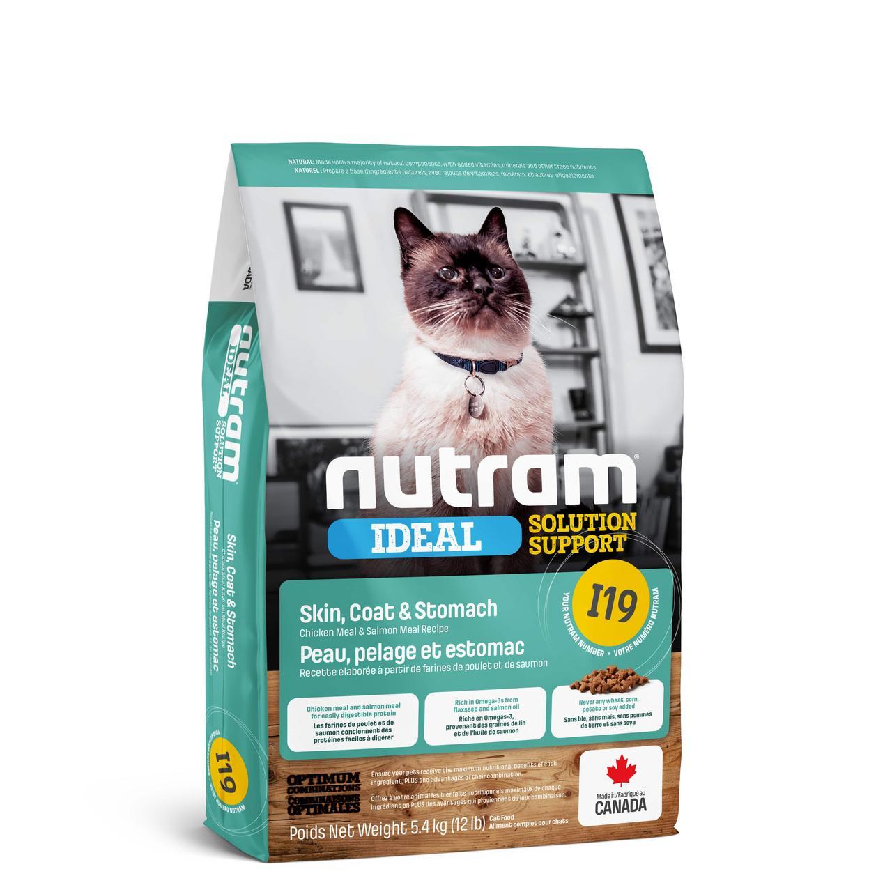 НУТРАМ I19 Nutram Ideal с курицей и лососем сухой корм для котов с проблемами кожи, шерсти, желудка, 5,4 кг