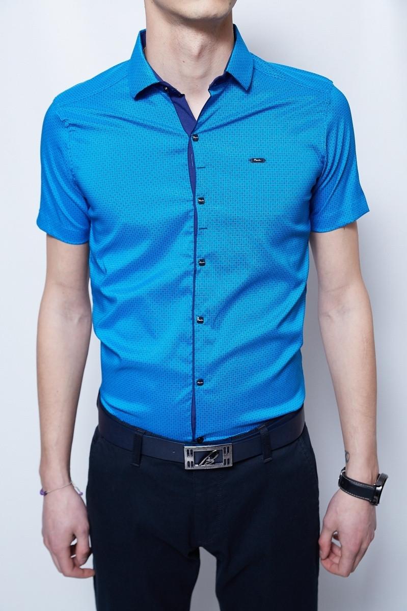 Рубашка короткий рукав PS 2097 ярко-синий