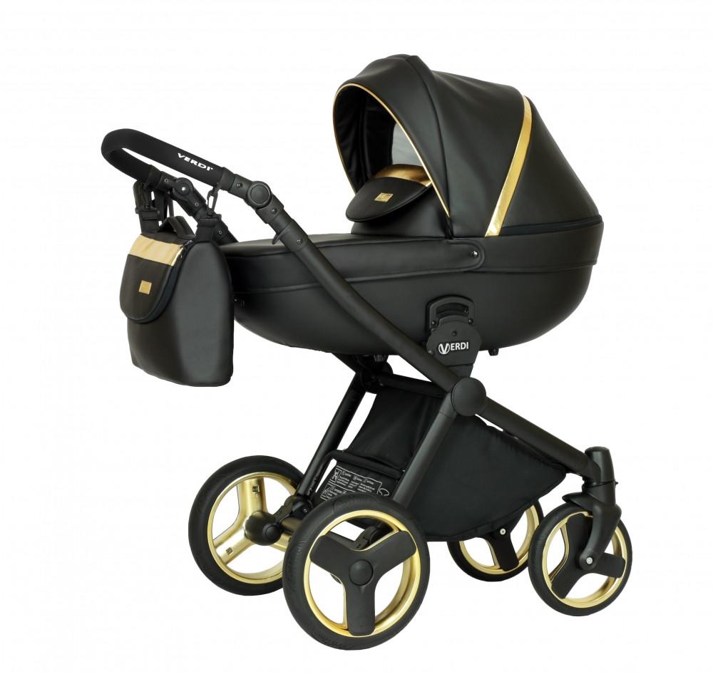 Універсальна коляска 2 в 1 Verdi Mirage Soft gold II, чорний/золото (9204)