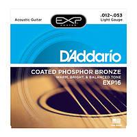 Струны для акустической гитары DAddario EXP16 Phosphor Bronze Light (12-53)