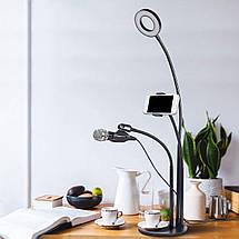 Live Stream 3 в 1 держатель на стол с подсветкой селфи кольцо, держателья для телефона и микрофона, фото 2