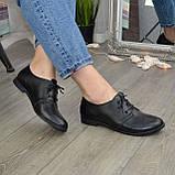 Туфли женские черные кожаные на шнуровке, низкий ход., фото 3