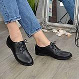 Туфли женские черные кожаные на шнуровке, низкий ход., фото 4