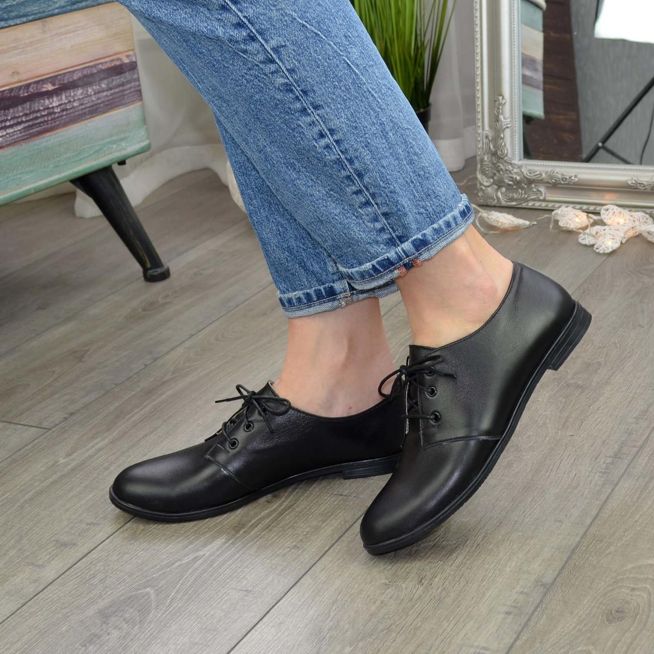 Туфли женские черные кожаные на шнуровке, низкий ход.