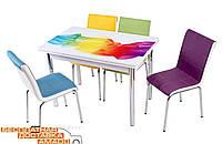 Комплект Sal/Радуга обеденный стол и мягкие стулья 4шт Mobilgen