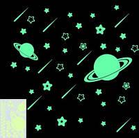 """Светящаяся наклейка """"Космос"""", салатовая - размер 15*10см, салатовая, (набирает свет и светится в темноте)"""