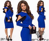 Изысканное прямое платье с длинным рукавом и воланами на плечах, 3цвета, р-р.42,44,46,48,50,52,54  Код611/612Д