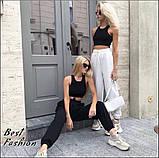 Стильный трикотажный костюм с коротким топом+брюки на резинке,цвет белый,черный Р-р.42-44,44-46,46-48 Код 437Ц, фото 3