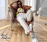Стильный трикотажный костюм с коротким топом+брюки на резинке,цвет белый,черный Р-р.42-44,44-46,46-48 Код 437Ц, фото 4