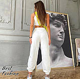 Стильный трикотажный костюм с коротким топом+брюки на резинке,цвет белый,черный Р-р.42-44,44-46,46-48 Код 437Ц, фото 5